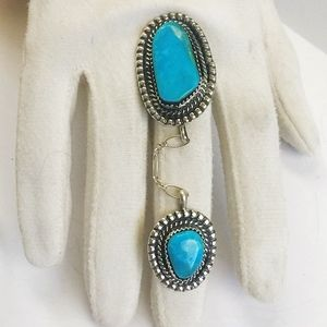 Jewelry - Custom Sterling Blue Turquoise Slave Knuckle Ring